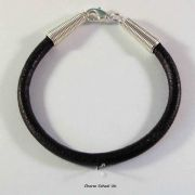 7 inch x 5mm Black Leather Bracelet